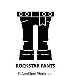 rockstar pants icon, black vector sign with editable strokes, concept illustration