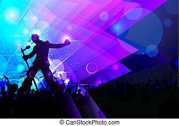 Rockstar performing in Music Concert - illustration of rock...