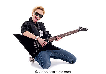 Rockstar playing a electric guitar