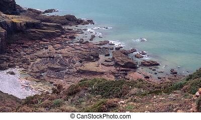 Rocky Atlantic ocean coast in Brittany, France
