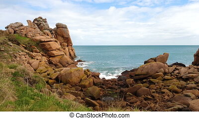 Rocky Atlantic ocean coast in Brittany,France