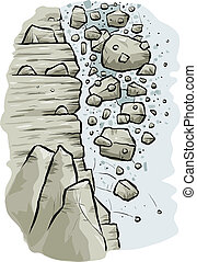 Rocky Avalanche - Cartoon rocks tumble down the side of a...