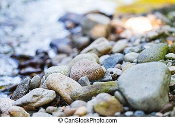 Close up image of a rocky beach