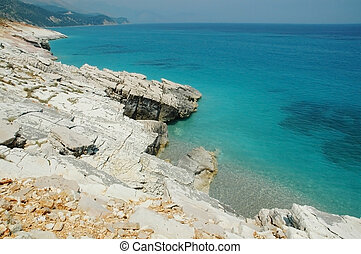 Rocky beach in Albania