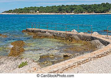 Rocky beach in Istria, Croatia