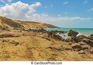 Rocky beach at Jericoacoara National Park, Brazil