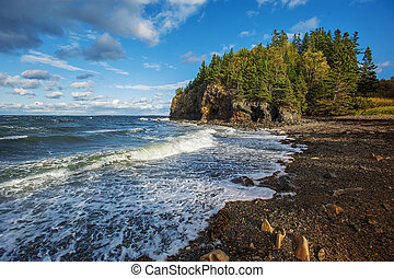 Rocky beach off the coast of Maine, USA