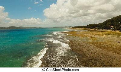 Rocky beach on a tropical island. Philippines,Siargao.