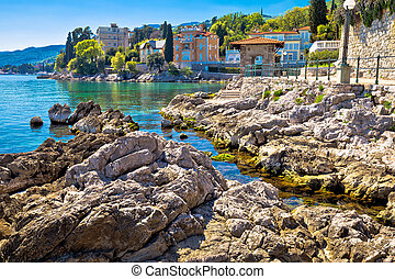 Rocky beach on Lungomare walkway in Opatija