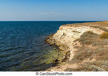 Rocky beach on the Black Sea.