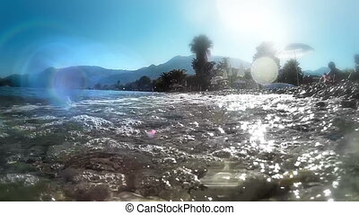 Rocky Beach Splashed By Waves At Beautiful Island OF...