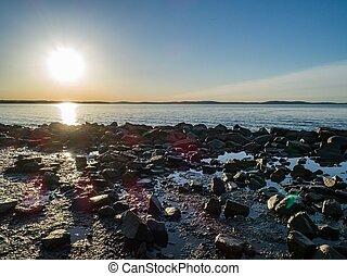 Rocky beach sunrise