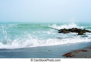Waves crashing on Caspersen Beach near Venice, Florida