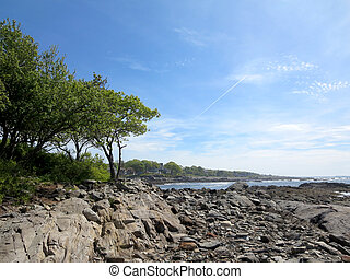 Rocky beach with trees at Ryefield Cove with clouds in the sky o