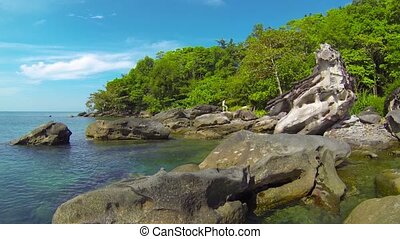 Rocky Beachline in Cambodia - Video 1080p - Slow, panning...