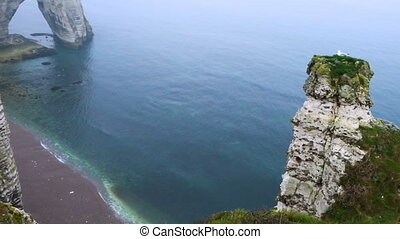rocky cliffs and the sea at the Etretat, Normandy, France