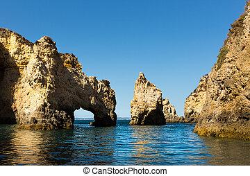 Rocky cliffs in the ocean