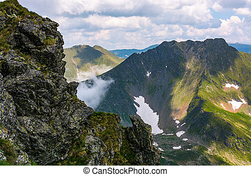 rocky cliffs of Fagatas mountains in Romania. beautiful...