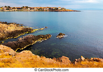 rocky cliffs of Sozopol over the Black sea. beautiful summer...