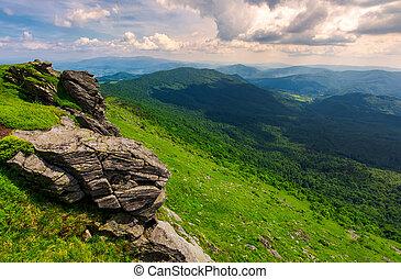 rocky cliffs of the Pikui mountain. Borzhava mountain ridge...