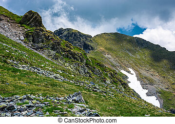 rocky cliffs on grassy slopes with snow in summer. lovely...