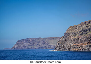 Rocky cliffs on the coast of La Gomera Island