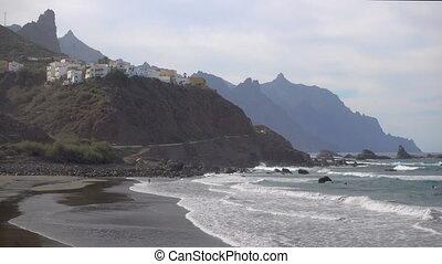 Almaciga beach in Tenerife - Rocky coast and Almaciga beach...