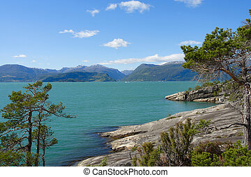 rocky coast and mountains in the distance, norway