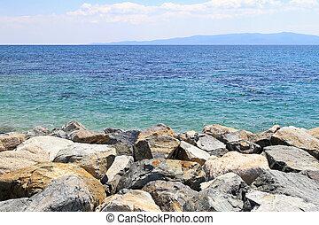 Aegean sea - Rocky coast at Aegean sea in Greece