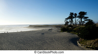 Rocky coast beach with deep blue sky