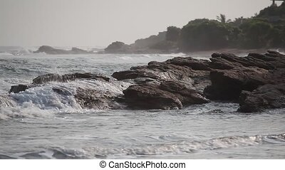 Rocky coast in Accra, Ghana - Rocky ocean coastline in...