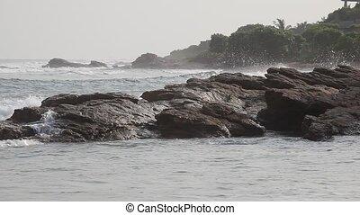 Rocky ocean coastline in Accra, capital city of Ghana