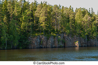 Rocky coast in the Bay of Valaam island. Karelia