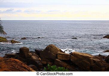Rocky coast in the Indian ocean