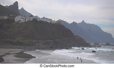 Almaciga beach in Tenerife - Rocky coast of Atlantic Ocean...