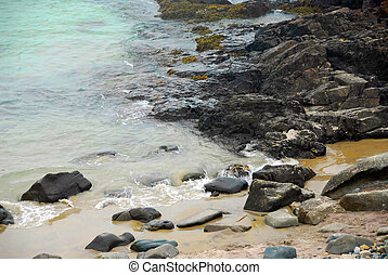 Rocky coast of Atlantic ocean in Maine, USA