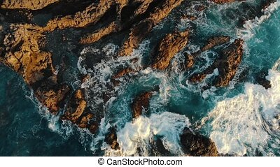 Rocky coast of Atlantic Ocean on island of Lanzarote, aerial