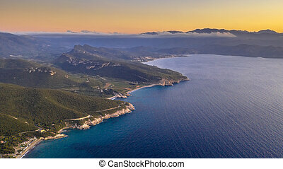 Rocky coast of Corsican Cap Corse - Aerial view of rocky ...