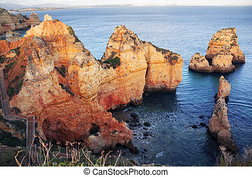 Rocky coast of Lagos, Portugal - Famous beaches, cliffs and...