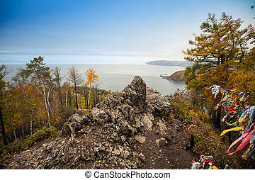 rocky coast of Lake Baikal.