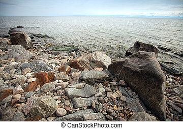 rocky coast of Lake Baikal.