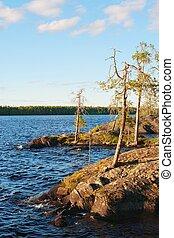 Rocky coast of northern blue lake
