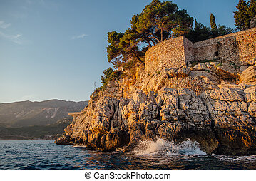 Rocky coast of the Adriatic Sea in Montenegro