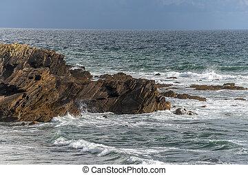 Rocky coast of the Atlantic Ocean in France.