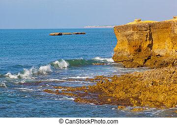 Rocky coast of the Atlantic Ocean in Portugal