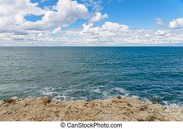 Rocky coast of the Black Sea, Crimea, Sevastopol.