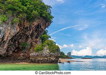 rocky coast of the island in Krabi province, Thailand