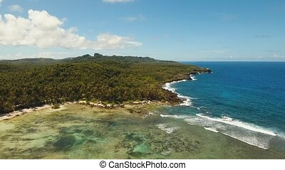 Rocky coast of tropical island - aerial footage rocky coast,...