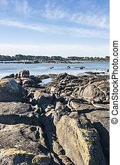Rocky coast on Arousa Island