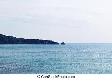 Rocky coast on Russian island. Vladivostok, Russia